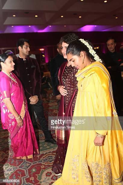 Miraya Vadra and Priyanka Gandhi Vadra during the wedding reception of Member of Parliament T Subbarami Reddy's grandson Rajiv Reddy and Kavya at...