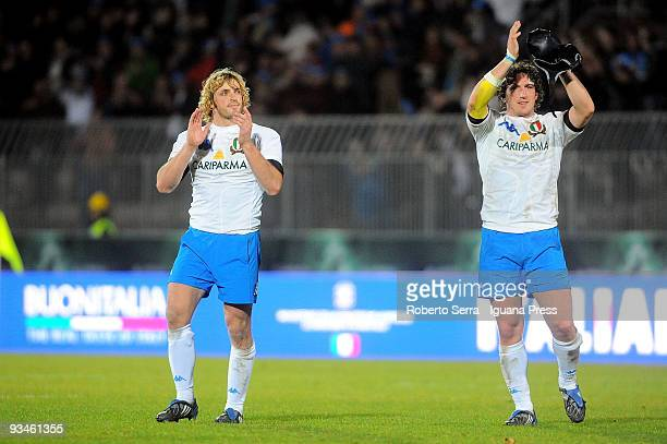 Mirco and Mauro Bergtamsco of Italy celebrate their win after the friendly match between Italy and Samoa at Stadio Cino e Lillo Del Duca on November...