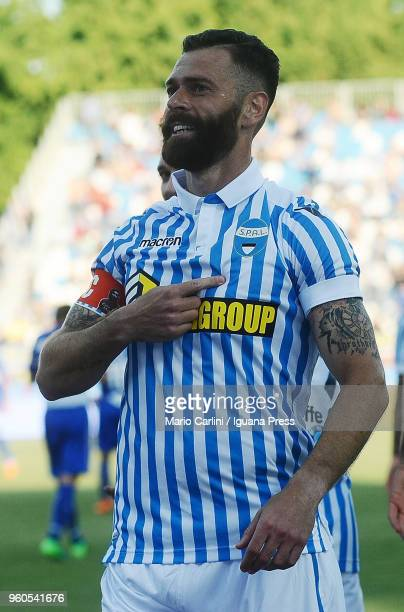 Mirco Antenucc of Spali celebrates after scoring his team's third goal during the serie A match between Spal and UC Sampdoria at Stadio Paolo Mazza...