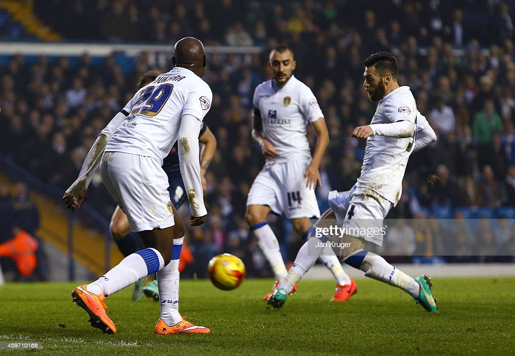 Mirco Antenucci of Leeds scores the opening goal during the Sky Bet Championship match between Leeds United and Derby County at Elland Road on November 29, 2014 in Leeds, England.