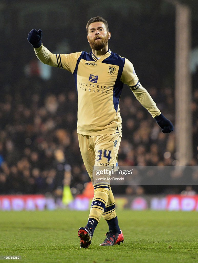 Mirco Antenucci of Leeds United celebrates as he scores their third goal during the Sky Bet Championship match between Fulham and Leeds United at Craven Cottage on March 18, 2015 in London, England.