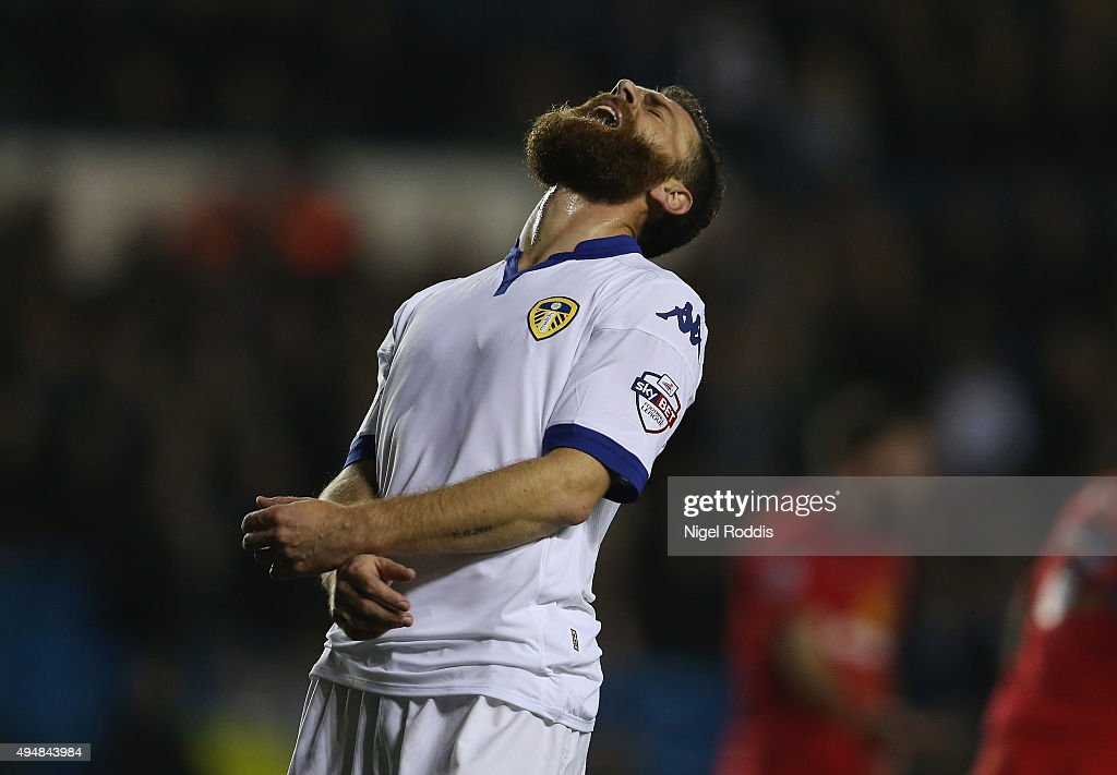 Mirco Antenucci of Leeds United reacts during the Sky Bet Championship match between Leeds United and Blackburn Rovers on October 29, 2015 in Leeds, United Kingdom.