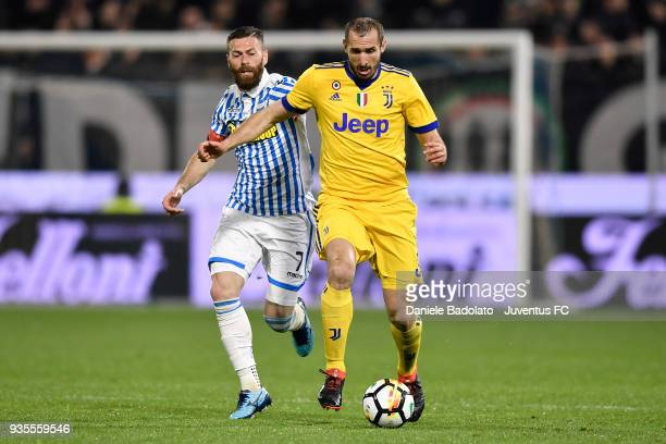 Mirco Antenucci of Spal and Giorgio Chiellini of Juventus during the serie A match between Spal and Juventus at Stadio Paolo Mazza on March 17 2018...