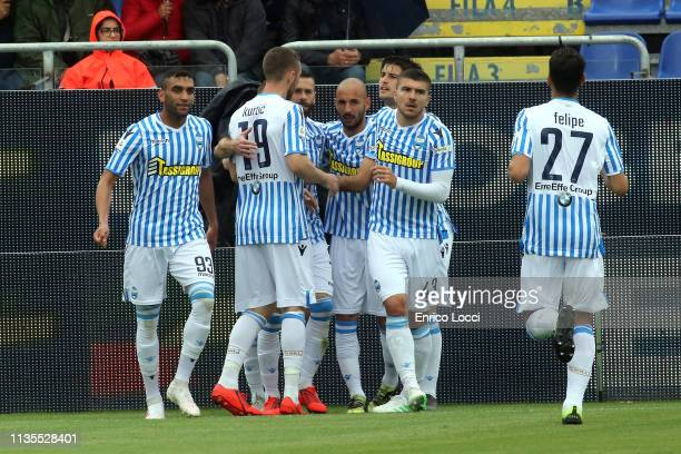 Mirco Antenucci of Spal celebrates his goal 11 during the Serie A match between Cagliari and SPAL at Sardegna Arena on April 7 2019 in Cagliari Italy