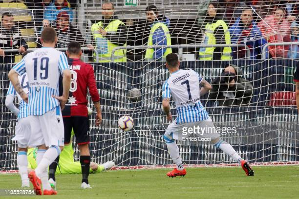 Mirco Antenucci of Spal scores a goal to make it 11 during the Serie A match between Cagliari and SPAL at Sardegna Arena on April 7 2019 in Cagliari...