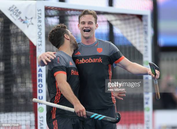 Mirco Pruijser of the Netherlands celebrates scoring his teams seventh goal during the quarter final match between the Netherlands and China on day...