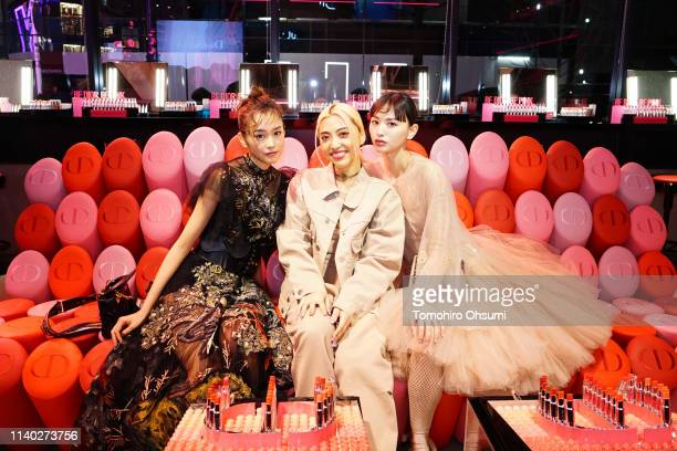 Mirei Kiritani Alisa Ueno and Emi Suzuki attend the Dior Addict Stellar Shine launch at Hotel Koe on April 2 2019 in Tokyo Japan
