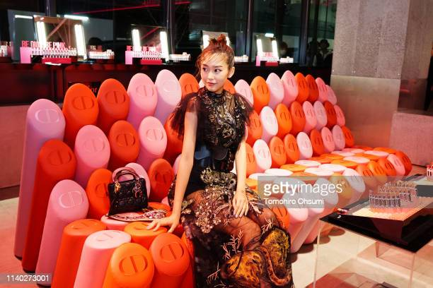 Mirei Kiritani attends Dior Addict Stellar Shine launch at Hotel Koe on April 2 2019 in Tokyo Japan
