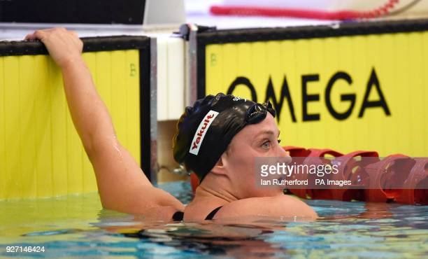 Mireia Belmonte after winning the final of the Women's 1500m Freestyle during day four of the 2018 EISM and British Championships at the Royal...
