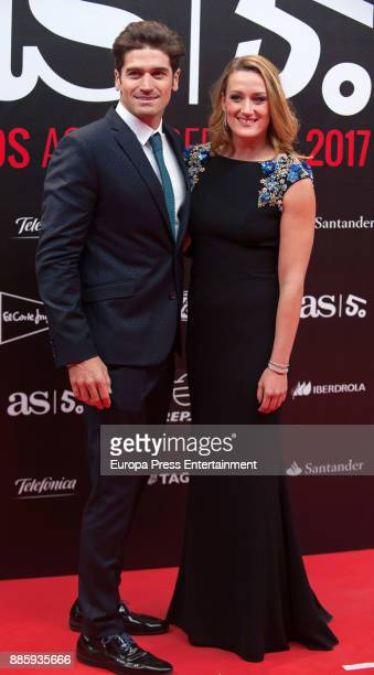 Mireia Belmonte and Javier Hernanz attend the 'As del Deporte' and 'As' sports newspaper 50th anniversary dinner at the Palacio de Cibeles on...