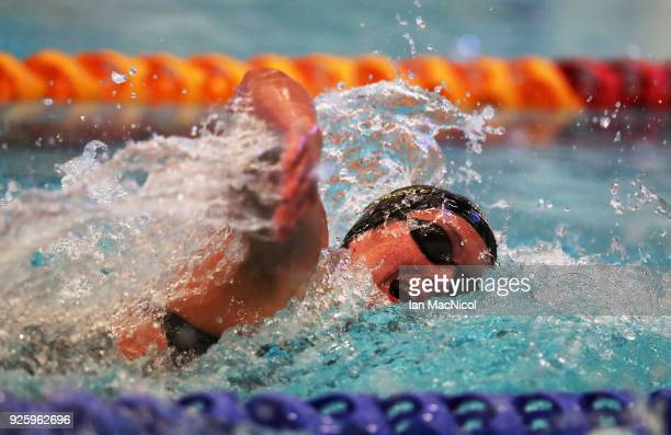 Mireia Belmonte of Spain competes in the Women's 200m Freestyle Final during the Edinburgh International Swim meet incorporating the British...