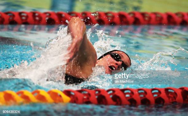 Mireia Belmonte of Spain competes in the Women's 800m Freestyle Final during The Edinburgh International Swim meet incorporating the British...