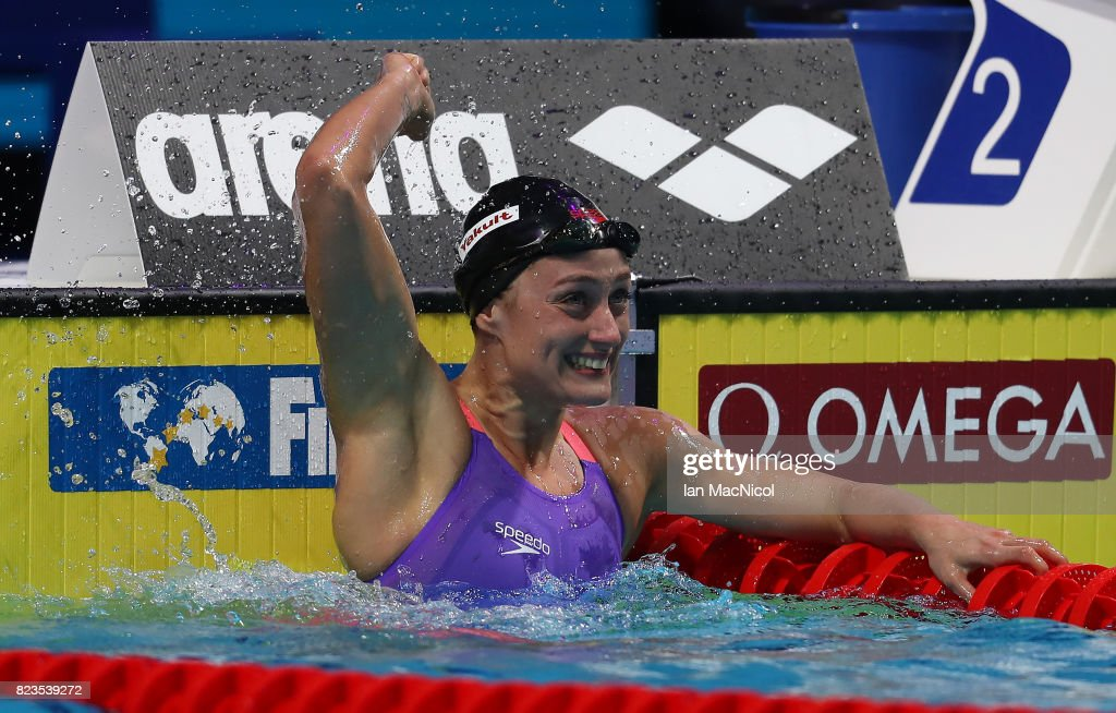 Mireia Belmonte of Spain reacts after she wins the Women's 200m Butterfly final on day fourteen of the FINA World Championships at the Duna Arena on July 27, 2017 in Budapest, Hungary.