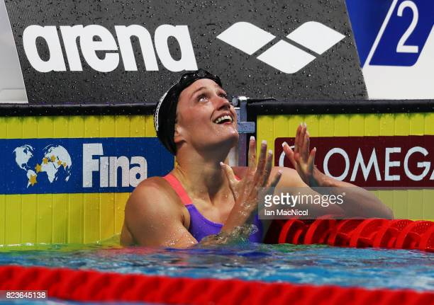 Mireia Belmonte of Spain reacts after she wins the Women's 200m Butterfly final on day fourteen of the FINA World Championships at the Duna Arena on...