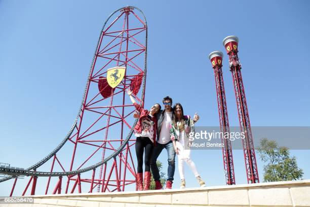 Mireia Canalda Felipe Lopez and Ares Teixido attend the new Ferrari Land at Port Aventura World on April 6 2017 in Tarragona Spain