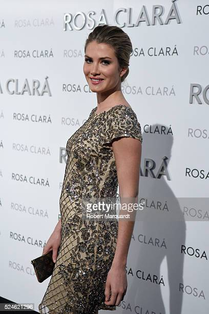 Mireia Lalaguna poses during a photocall for 'Rosa Clara' bridal collection on April 26 2016 in Barcelona Spain