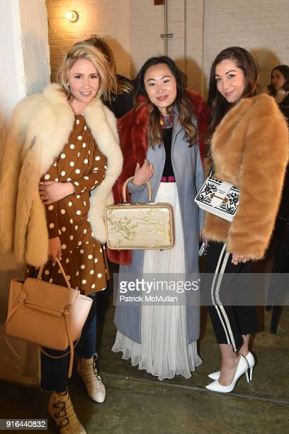 Mireille Beckwith Mary Gui and Laurelle Gunderson attend the Nicole Miller Fall 2018 Runway Show at Industria Studios on February 9 2018 in New York...