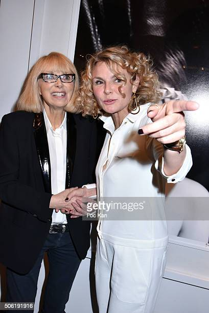 Mireille Darc and Alexandra Bronkers attend the Mireille Darc Photo Exhibition Preview at Artcurial on January 21 2016 in Paris France