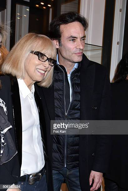 Mireille Darc and Anthony Delon attend the Mireille Darc Photo Exhibition Preview at Artcurial on January 21 2016 in Paris France