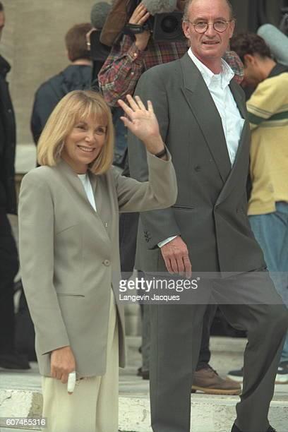 Mireille Darc arriving with her friend Pascal Desperez