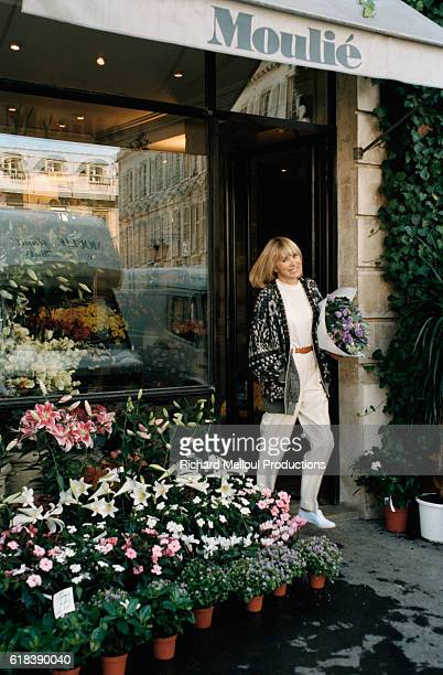 Mireille Darc Leaving Flower Shop