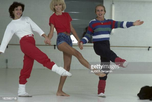 mireille darc practicing gym pictures getty images. Black Bedroom Furniture Sets. Home Design Ideas