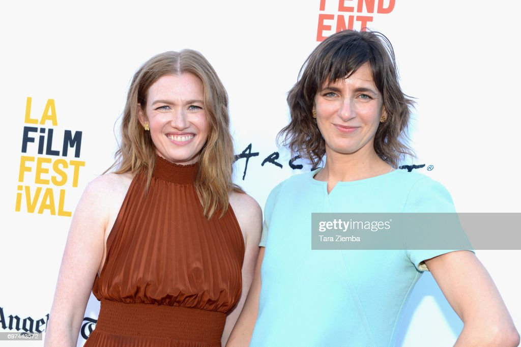 Mireille Enos (L) and Camille Thoman attend the premieres of 'Never Here' and 'Laps' during 2017 Los Angeles Film Festival at Arclight Cinemas Culver City on June 18, 2017 in Culver City, California.
