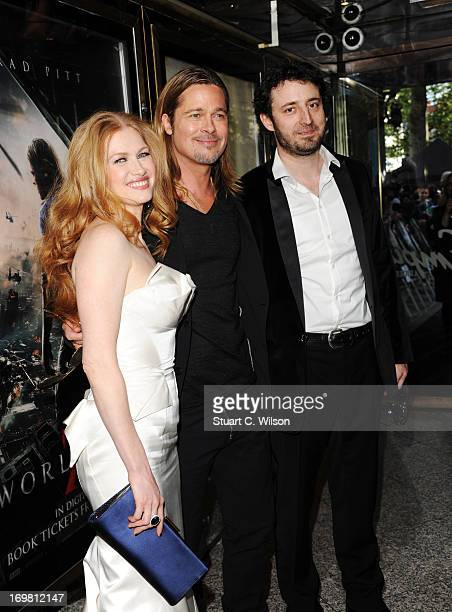 Mireille Enos, Brad Pitt and Nikola Djuricko attend the World Premiere of 'World War Z' at The Empire Cinema on June 2, 2013 in London, England.