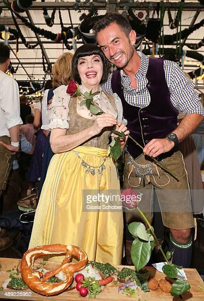 Mireille Mathieu and Florian Silbereisen during the Oktoberfest 2015 Opening at Schottenhamel beer tent at Theresienwiese on September 19 2015 in...