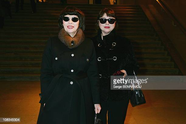 Mireille Mathieu and her sister Monique arrive at the Stephane Rolland Fashion Show during Paris Fashion Week Haute Couture SpringSummer 2011 at the...