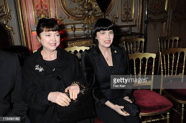 Mireille Mathieu and Her Sister Monique attend the Chow Tai Fook Chinese Jewellery Party at the Hotel Pozzo Di Borgho on October 02 2008 in Paris...