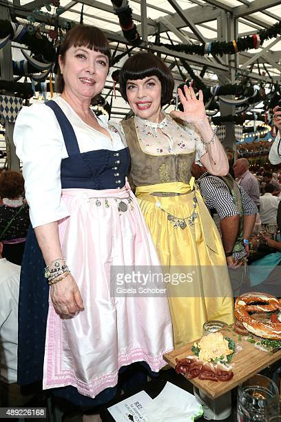 Mireille Mathieu and her sister Monique Mathieu during the Oktoberfest 2015 Opening at Schottenhamel beer tent at Theresienwiese on September 19 2015...