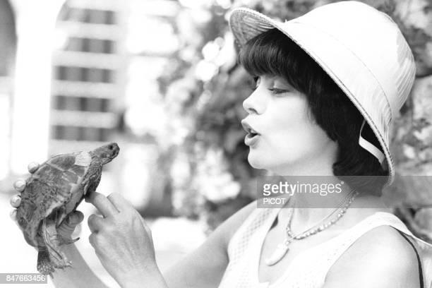 Mireille Mathieu fait des calins a une tortue lors de ses vacances dans la propriete de son impresario Johnny Stark pres de Marseille en aout 1982 a...