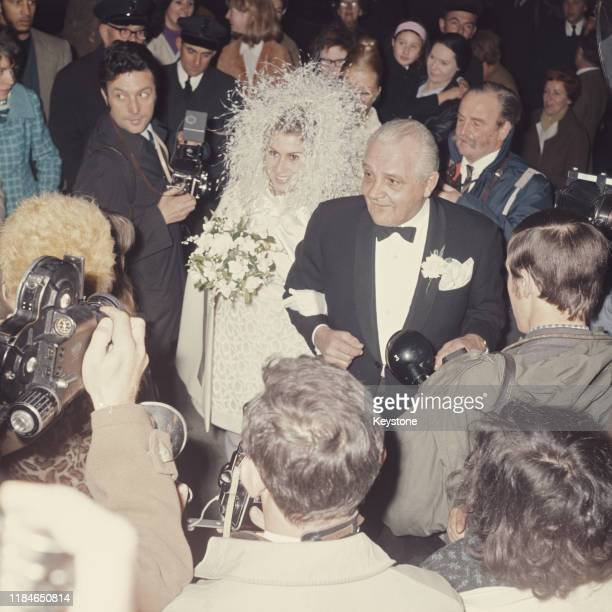 Mireille Strasser arrives for her wedding to English singer Peter Noone of the pop group Herman's Hermits UK 5th November 1968