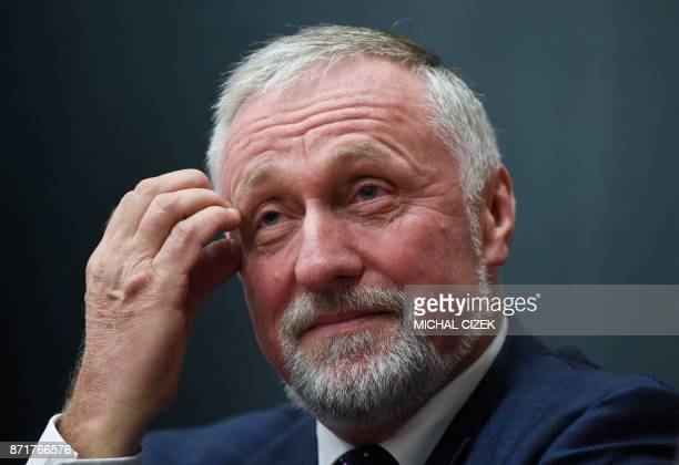 Mirek Topolanek former Czech prime minister and candidate in the next Czech presidential election takes part in a preelection debate on November 8...