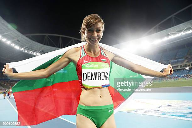 Mirela Demireva of Bulgaria reacts after winning silver in the Women's High Jump on Day 15 of the Rio 2016 Olympic Games at the Olympic Stadium on...