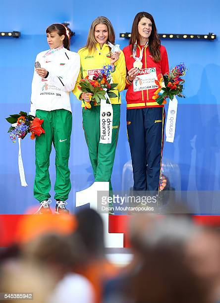 Mirela Demireva of Bulgaria Ruth Beitia of Spain and Airine Palsyte of Lithuania pose for a picture after receiving their medals for the womens high...