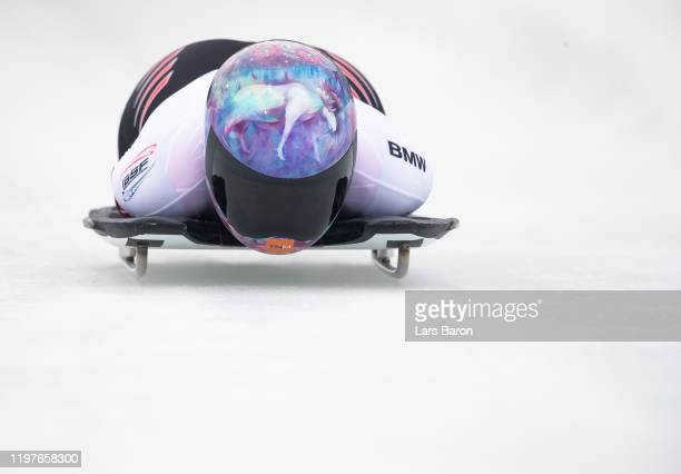Mirela Rahneva of Canada competes during the BMW IBSF Skeleton World Cup at Veltins Eis-Arena on January 05, 2020 in Winterberg, Germany.