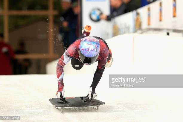 Mirela Rahneva of Canada takes a training run in the Women's Skeleton during the BMW IBSF Bobsleigh + Skeleton World Cup at Utah Olympic Park...