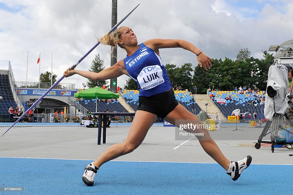 Mirell Luik from Estonia competes in women's javelin during day one of the IAAF World U20 Championships at the Zawisza Stadium on July 19, 2016 in Bydgoszcz, Poland.