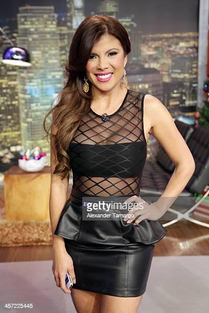 Mirella Grisales poses at Telemundo Studio on December 16 2013 in Miami Florida