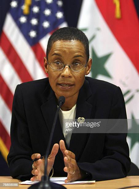 Mirembe Nantongo spokesperson for the US Embassy in Iraq speaks to reporters at a news conference with US military spokesman in Iraq Major General...