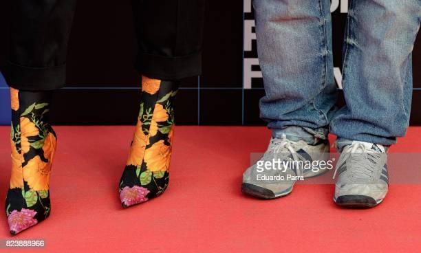 Miren Ibarguren and Borja Cobeaga shoes detail attend the presentation of San Sebastian Film Festival 2017 programme on July 28 2017 in Madrid Spain