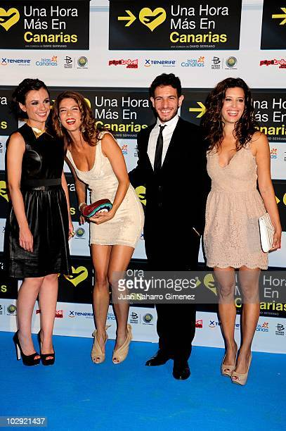 Miren Ibarguren Juana Acosta Quim Gutierrez and Angie Cepeda attend 'Una hora mas en Canarias' premiere at La Bombilla Cinema on July 15 2010 in...