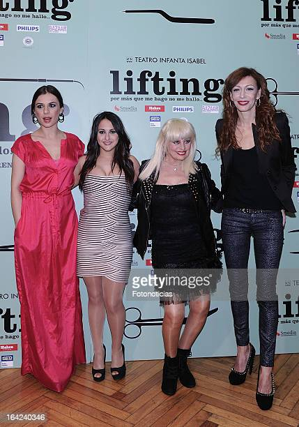 Miren Ibarguren Pepa Rus Josele Roman and Elisa Matilla attend the premiere of 'Lifting' at the Infanta Isabel theatre on March 21 2013 in Madrid...