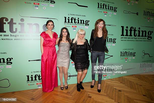 Miren Ibarguren Pepa Rus Josele Roman and Elisa Matilla attend the Lifting premiere at Infanta Isabel Theatre on March 21 2013 in Madrid Spain