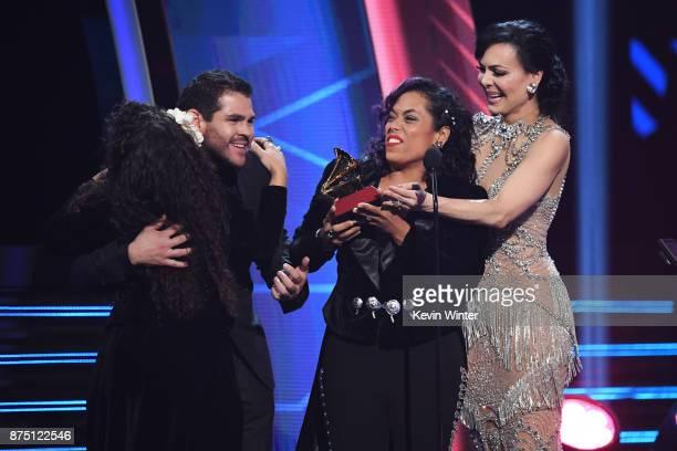 Mireya Ramos of music group Flor de Toloache accepts Best Ranchera/Mariachi Music Album for 'Las Caras Lindas' from Marco de la O and Maribel Guardia...