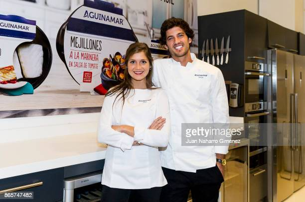 Miri de PerezCabrero and Jorge Brazalez attend Aguinamar showcooking at Kitchen Club on October 24 2017 in Madrid Spain