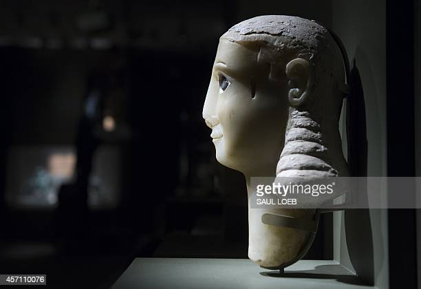 'Miriam' a head of a woman carved in alabaster from the 1st century BCE appears in a gallery of artifacts discovered by American adventurer Wendell...