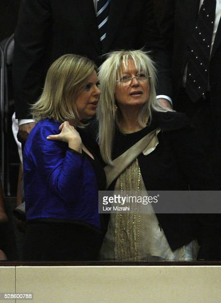 Miriam Adelson speaks Sara Netanyahu, wife of Israeli Prime Minister Benjamin Netanyahu during the swearing of a new government in the Knesset on...